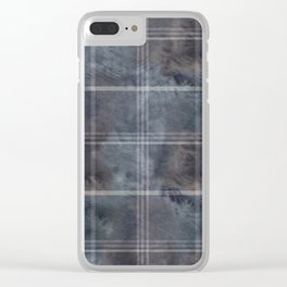 Felted Plaid Moody Blue Clear iPhone Case