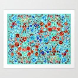 Red & Blue floral. Art Print