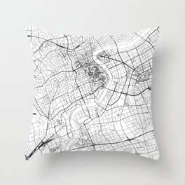 Shanghai White Map Throw Pillow