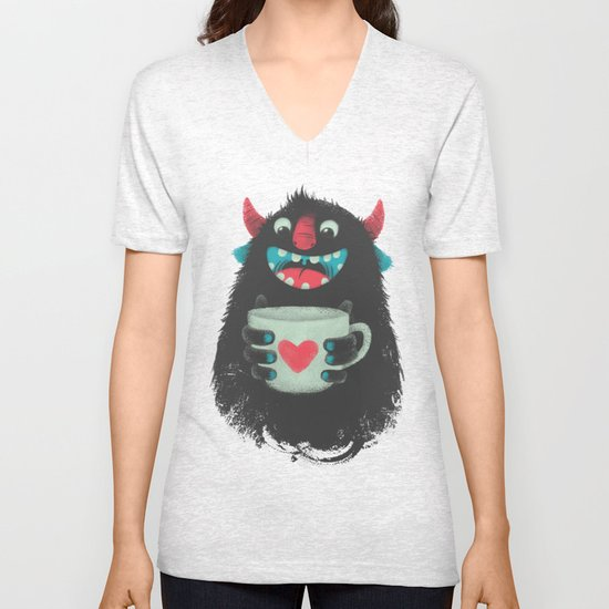 Demon with a cup of coffee Unisex V-Neck