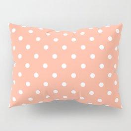 Peach with White Polka Dots Pillow Sham