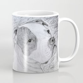 American Bulldog Portrait Drawing Coffee Mug