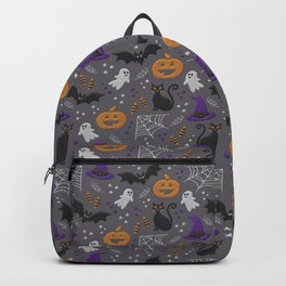 Halloween party symbols grey embroidery print Backpack