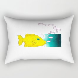 Yellow Fish w/ Bubble (Babel Bubble 1) Rectangular Pillow