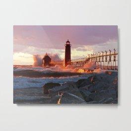 Lighthouse on the evening sun Metal Print