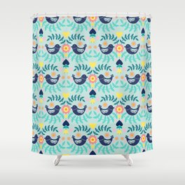Folky Pattern Light Blue Shower Curtain