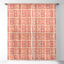Mid Century Abstract Pattern Orange & Red Sheer Curtain
