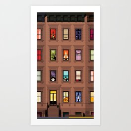 Brownstone Windows Art Print