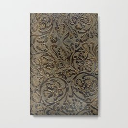 Olive & Brown Tooled Leather Metal Print