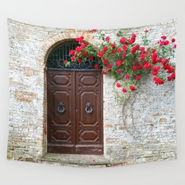 Italian Red Roses Wall Tapestry