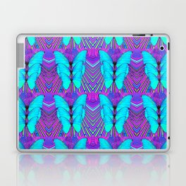 MODERN ART NEON BLUE BUTTERFLIES SURREAL PATTERNS Laptop & iPad Skin