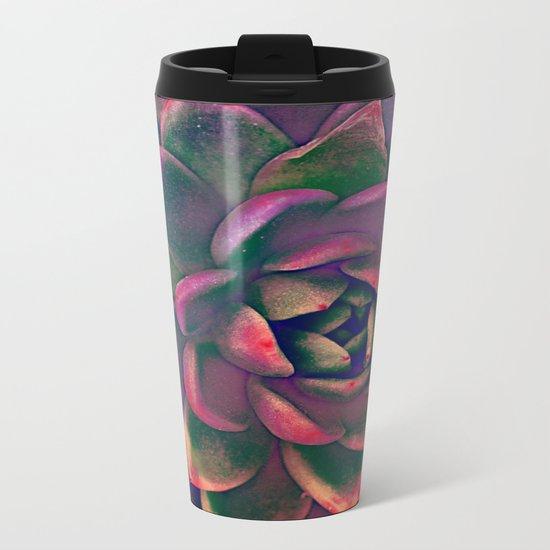Green & violet succulent Metal Travel Mug