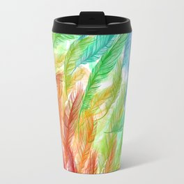 Rainbow Feathers Travel Mug