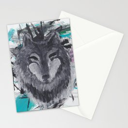 Wolf Abstract Acrylic Painting Stationery Cards