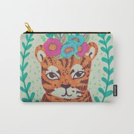 lil' tiger with flowers Carry-All Pouch