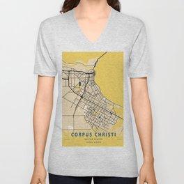 Corpus Christi Yellow City Map Unisex V-Neck