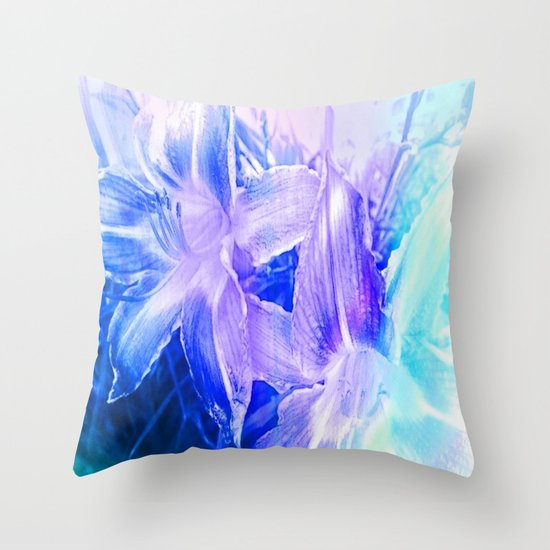 Blue And Lavender Throw Pillows : Spring Flowers in Shades of Blue and Lavender Throw Pillow by Jennifer Warmuth Art And Design ...