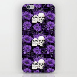 Purple Floral Skull Pattern iPhone Skin