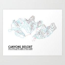 Canyons Resort, UT - Minimalist Trail Art Art Print