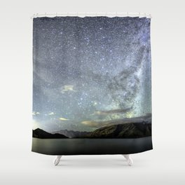 New Zealand Southern Hemisphere Skies Over Lake Wakatipu by OLena Art Shower Curtain