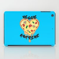 vegetarian iPad Cases featuring Veggie Supreme - Deluxe Vegetarian Heart Shaped Pizza  by MagicCircle