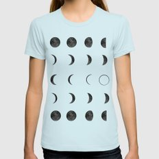 Moon Phases, Black White Decor, Bohemian, Magic, Lunar Cycle MEDIUM Light Blue Womens Fitted Tee