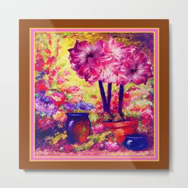 Amaryllis Greenhouse Coffee Brown Still Life Metal Print