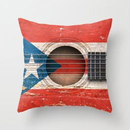 Old Vintage Acoustic Guitar with Puerto Rican Flag Throw Pillow