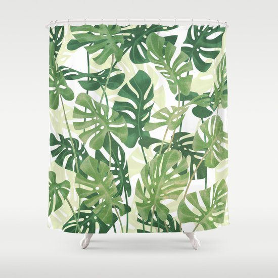 Vintage Monstera leaves Shower Curtain by ikerpazstudio | Society6