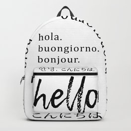 Hello in Many Languages Backpack