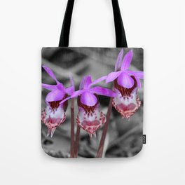 Calypso Orchid Trio in Selective Black and White Tote Bag
