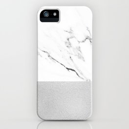 White Marble with Black and Grey Silver Stripe iPhone Case