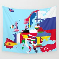 europe Wall Tapestries featuring Europe flags by SebinLondon
