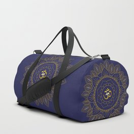 Om Symbol and Mandala in Spiritual Gold Purple Blue Violet Duffle Bag