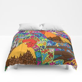 Happy Birds - Chicken and Rooster Comforters
