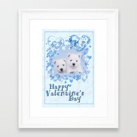 westie Framed Art Prints featuring Westie Valentine by petsArt