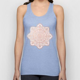 Rose Gold Mandala on White Marble Unisex Tank Top