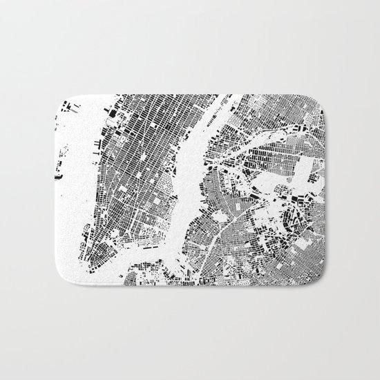 New York Map Schwarzplan Only Buildings Bath Mat
