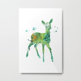 Green Fawn Watercolor Painting Metal Print