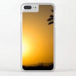 Golden Andalusian sunset with silhouette palm trees and mountain Clear iPhone Case