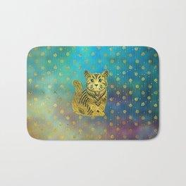 Bohemian Cat Golden Decor on Paint Background Bath Mat