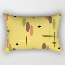 Ovals and Starbursts Gold Rectangular Pillow