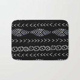 Mudcloth linocut design original black and white minimal inky texture pattern Bath Mat