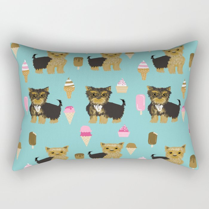 Yorkie ice cream gifts yorkshire terrier dog lover pet friendly patterns minty Rectangular Pillow
