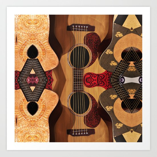 Guitar Reflections Art Print