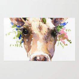 Cow Head, Floral Farm Animal Artwork Rug