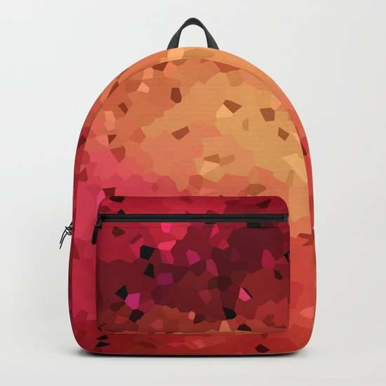 Red brown abstract pattern Crystals . Backpack