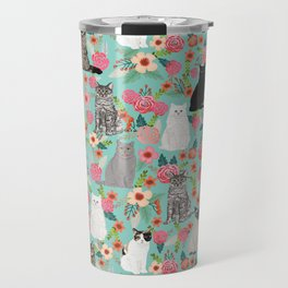 Cats floral mixed breed cat art cute gifts for cat ladies cat lovers pet art Travel Mug