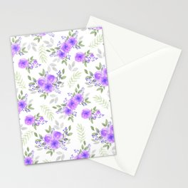 Hand painted violet lilac green watercolor peonies floral Stationery Cards
