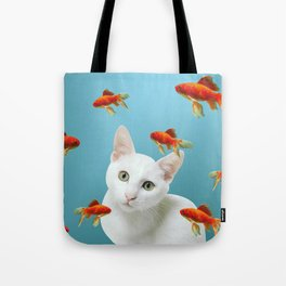white lovely cat with goldfishes #cats Tote Bag